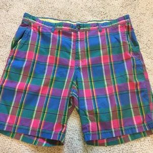 Izod Men's Pink Blue Plaid Shorts Size 42